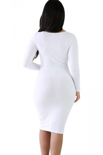 Plain white long sleeve bodycon dress