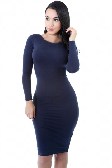 Womens Plain Long Sleeve Midi Bodycon Dress Navy Blue - PINK QUEEN