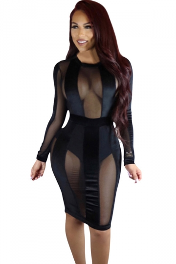 Womens Sheer Mesh Patchwork Long Sleeve Clubwear Dress Black