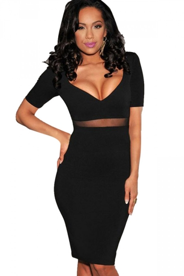 Womens Diamond Neckline Mesh Patchwork Clubwear Dress Black