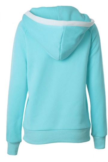 Womens Raglan Sleeve Drawstring Pullover Hoodie Light Blue