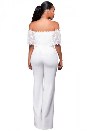 Womens Off Shoulder High Waist Plain Palazzo Jumpsuit White