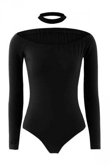 Womens Boat Neck Long Sleeve Choker Plain Bodysuit Black