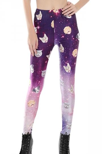 Womens Skinny High Waist Galaxy Cat Printed Leggings Purple