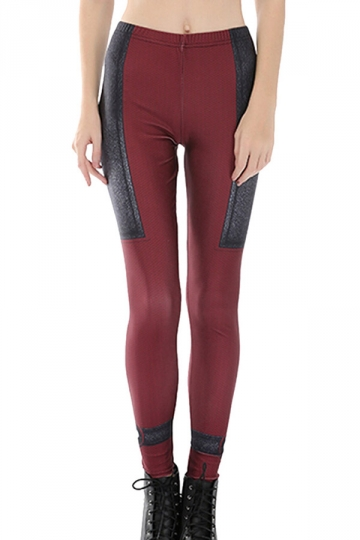 Womens Skinny High Waist Deadpool Printed Leggings Ruby