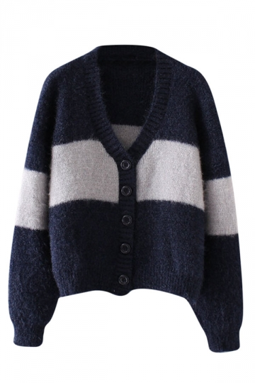 Womens Single-breasted Color Block Cardigan Sweater Navy Blue