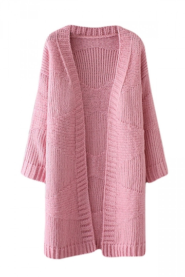 Womens Loose Dropped Shoulder Sleeve Plain Cardigan Sweater Pink