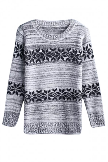 Womens Crewneck Snowflake Patterned Pullover Sweater Gray