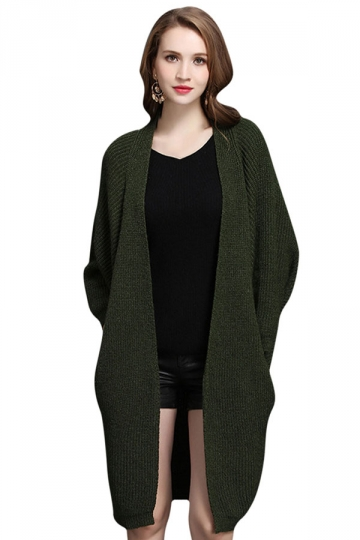 Womens Batwing Sleeve Big Pockets Plain Cardigan Sweater Army Green