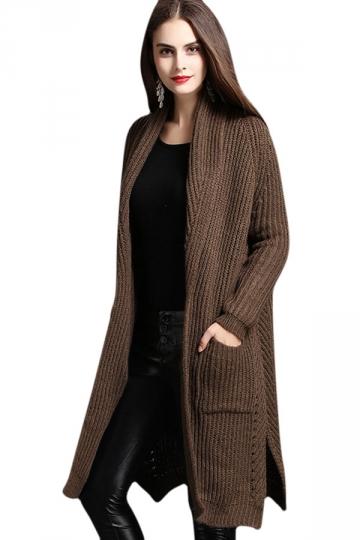 Womens Turndown Collar Side Slit Long Sleeve Cardigan Sweater Coffee
