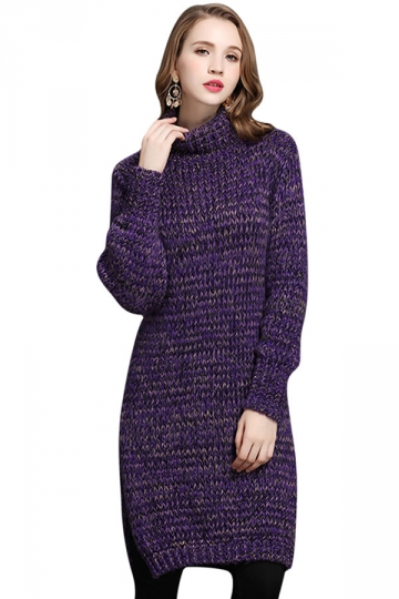 Womens Turtleneck Long Sleeve Side Slit Pullover Midi Sweater Purple