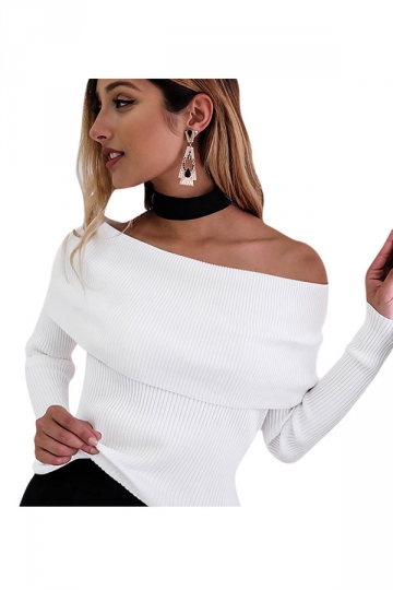 Womens Off Shoulder Long Sleeve Crochet Pullover Plain Sweater White