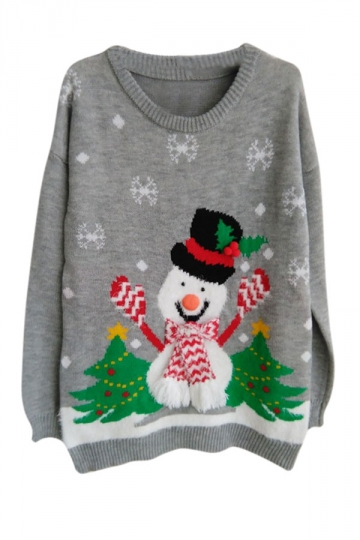 Womens Ugly Christmas Snowman Long Sleeve Pullover Sweater Gray