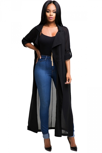 Womens Notched Lapel Sheer Chiffon Long Trench Coat Black - PINK QUEEN