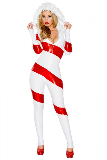 Womens Striped One-piece Hooded Christmas Candy Cane Costume White