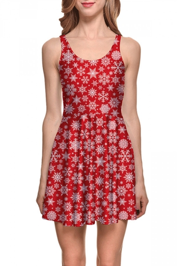 Womens Christmas Snowflake Printed Sleeveless Skater Dress Red