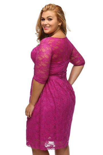 womens three quarters sleeves lace wedding plus size dress rose