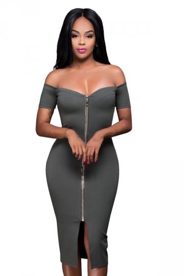 Womens Off Shoulder Zip-up Slit Midi Clubwear Dress Dark Gray