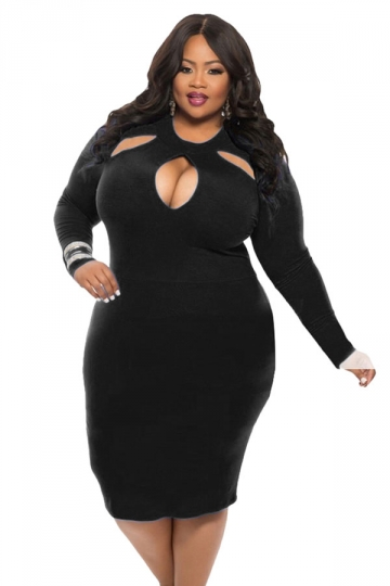 Womens Cut-out Long Sleeve Midi Plain Plus Size Dress Black - PINK ...