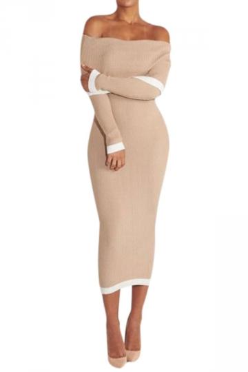 Womens Knit Off Shoulder Long Sleeve Midi Bodycon Dress Khaki