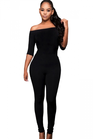 Womens Off Shoulder Half Sleeve High Waist Elastic Jumpsuit Black ...