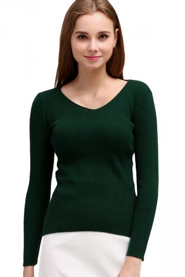 Womens V Neck Crochet Elastic Plain Pullover Sweater Dark Green ...