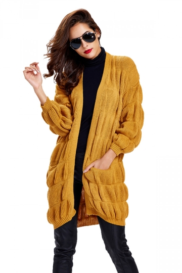 Womens Loose Long Sleeve Plain Cardigan Sweater Yellow
