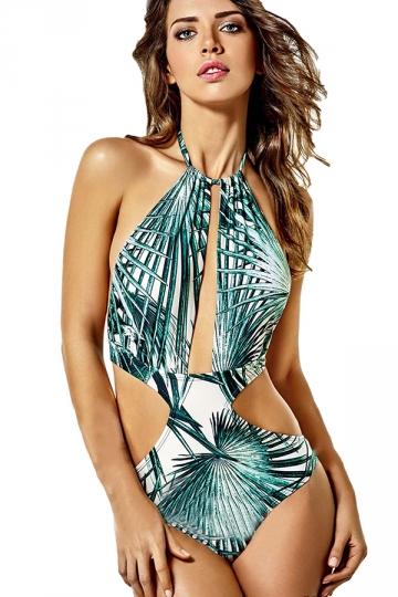 Womens Halter Lace-up Leaf Printed Cut Out Monokini Green