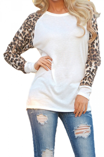 Womens Leopard Printed Long Sleeve Crewneck T Shirt White