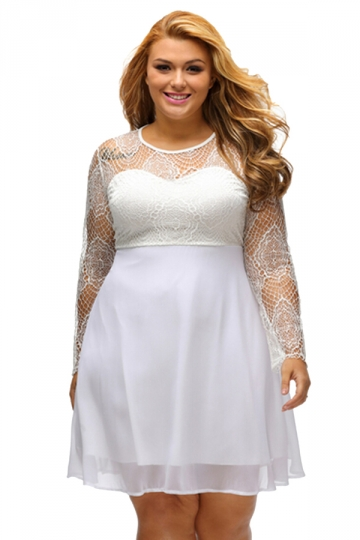 Womens Boohoo Plus Size Lace Long Sleeve Skater Dress White