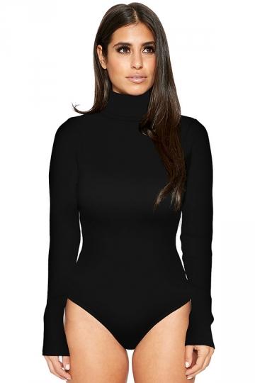 Womens Mock Neck Plain Long Sleeve Slimming Bodysuit Black