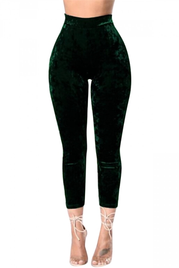 Womens High Waist Pleuche Plain Capri Leggings Dark Green
