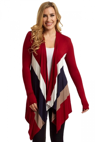 Womens Color Block Asymmetric Long Sleeve Cardigan Ruby