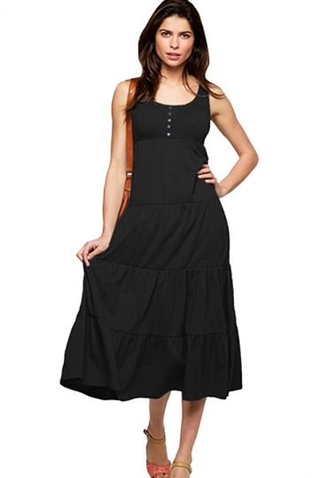 Womens Plain Button Decor Pleated Tank Dress Black