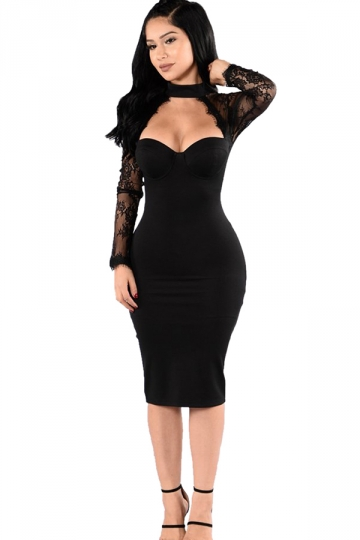 Womens Halter Lace Patchwork Long Sleeve Bodycon Dress Black ...