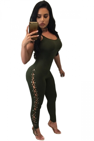 Womens Side Open Lace-up Spaghetti Straps Plain Jumpsuit Army Green