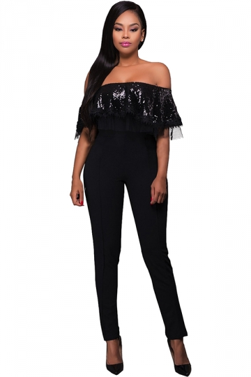 Womens Sequined Ruffled Off Shoulder High Waist Jumpsuit Black