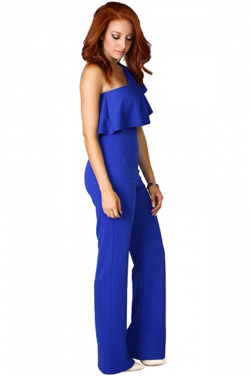 Womens One Shoulder Ruffled Plain Palazzo Jumpsuit Sapphire Blue