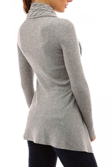 Womens Asymmetric Hem Cable Knitted Long Sleeve Cardigan Sweater Gray
