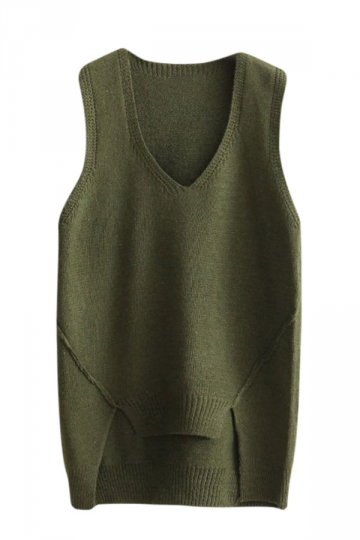 Womens V-neck High Low Plain Pullover Sweater Vest Army Green ...