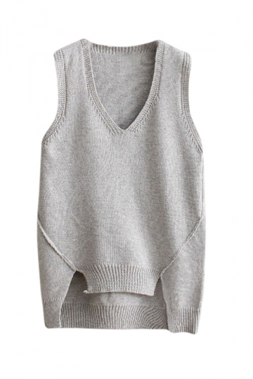 Womens V-neck High Low Plain Pullover Sweater Vest Light Gray ...