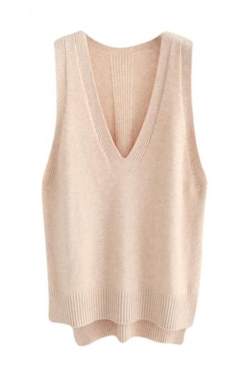 Womens High Low Side Slit V-neck Pullover Sweater Vest Apricot ...