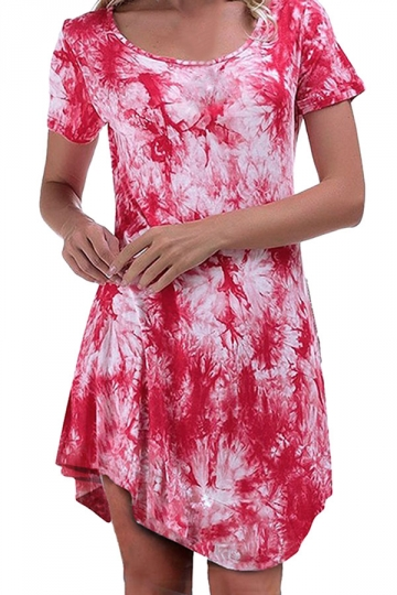 Womens Tie Dye Irregular Hem Short Sleeve Smock Dress Watermelon Red