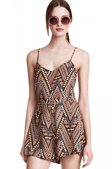 Womens Spaghetti Straps Cut Out High Waist Geometric Romper Brown
