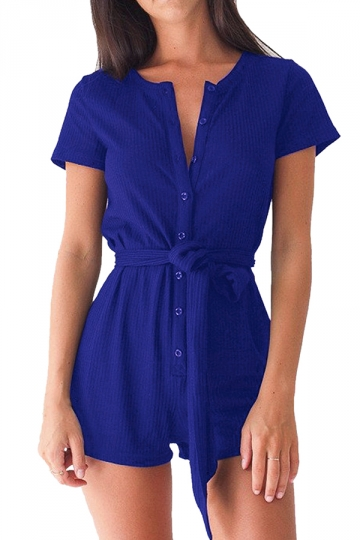 Womens Single-breasted Short Sleeve Plain Sash Romper Sapphire Blue
