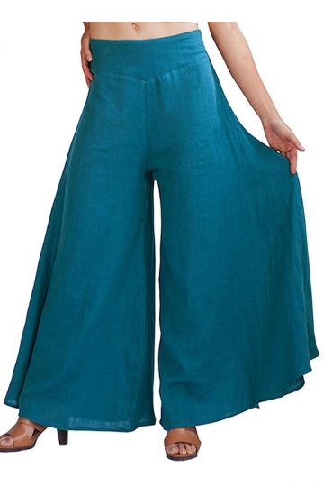 Womens Plain Palazzo Leisure Pants Blue