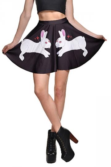 Womens High Waist Rabbit Printed Pleated Skirt Black