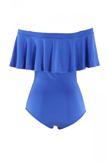 Womens Off Shoulder Ruffled Plain One Piece Swimsuit Blue