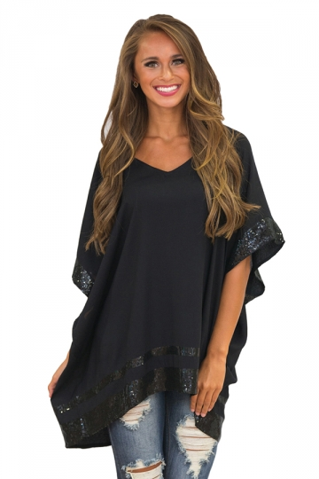 Womens Sequined Short Sleeve High Low Loose T Shirt Black