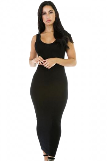 Womens Stretchy Slimming Long Tank Dress Black